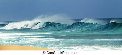 wild, angry ocean on North Shore - wild turbulent ocean...