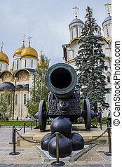 Tzar cannon in Kremlin. Made in Moscow, Russia.