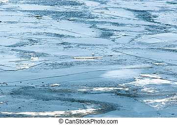 Frozen ice on a lake at winter