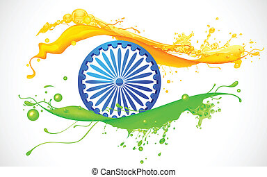 Indian Flag Background - illustration of Ashoka Chakra in...