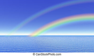 Rainbow over the ocean - 3D render