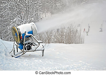 snow gun (pulverizer) disperse artifitial snow on mountain, seasonal environment details