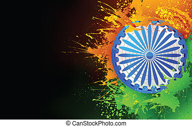India Background in tricolor - illustration of Ashok Chakra...