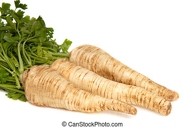 Parsley Root on white background - Fresh parsley root...