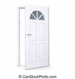 White open door Isolated render on a white background