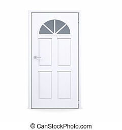 Closed white door. Isolated render on a white background