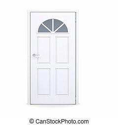 fehér, ajtó, csukott