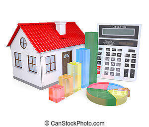 The growth in property prices Isolated render on a white...