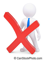 White 3d man with a red cross. Isolated render on a white...