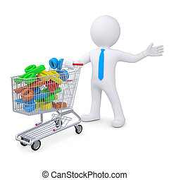 3d white man with a cart filled with percent signs Isolated...