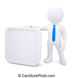 3d man with a white rectangle frame. Isolated render on a...