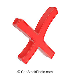 Red cross. Isolated render on a white background
