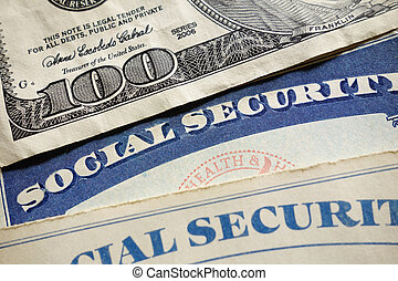 Social Security cards - Closeup of US Social Security cards...