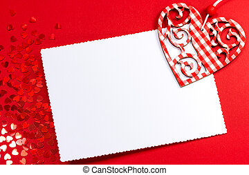 Heart over blank Valentine's card