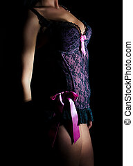 Front view of sexual female body in corset