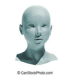 Android head isolated - Shiny head android isolated on white...