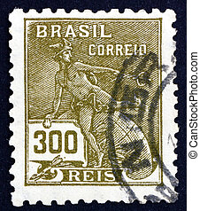 Postage stamp Brazil 1920 Mercury, Symbol of Trade - BRAZIL...