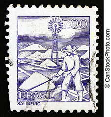 Postage stamp Brazil 1977 Salt Mine Worker