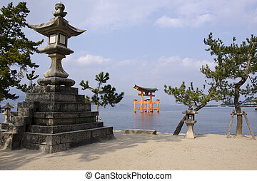 Itsukushima Shrine - Tori gate of the Itsukushima Shrine on...