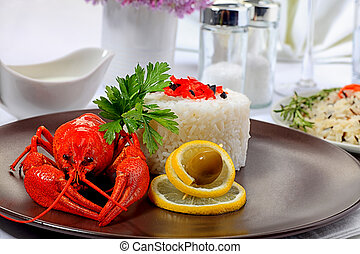 clean water - Dinner table dished up with boiled crawfish,...