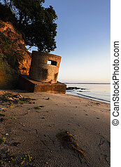 WWII Pillbox on beach at studland in Dorset
