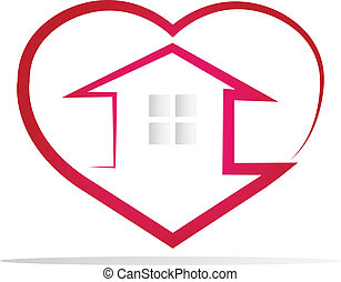 House and heart silhouette logo - House and heart silhouette...