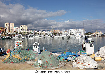 Fishing boats in the port of Estepona, Costa del Sol,...