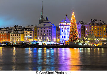 Christmas in Stockholm, Sweden - Night winter scenery of the...