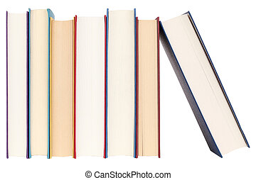 Books in a row, isolated on white background