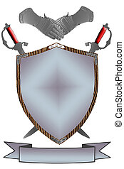 Isolated 16th Century War Shield Swords Gloves 3D - Isolated...