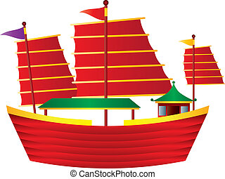 Chinese Junk Sail Boat Illustration - Chinese Junk Colorful...
