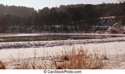 river floating floe - Frozen river Neris in winter and...