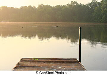morning dock - a hazy morning with a view from a boat dock...