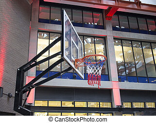 basketball net in urban shopping plaza