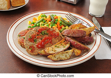 Meatloaf and potatoes - Meatloaf dinner with potatoes and...