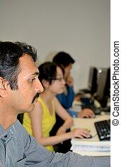 Computer operators at work