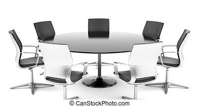 Round conference room isolated on a white background
