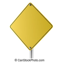 Yellow blank isolated caution sign