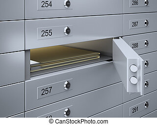 Safety deposit boxes with documents - 3d render of Safety...