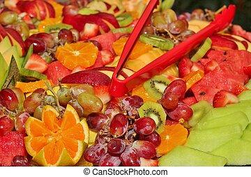 fruta, bandeja, 2