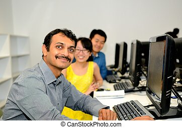 Computer workers in the computing room