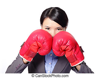 business woman with boxing gloves - Confident modern...