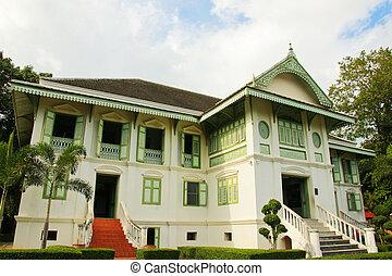 estilo, casa, tradicional,  phrae, Tailandia, tailandés