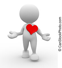 Heart - 3d people - man, person with a red heart Concept of...