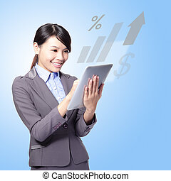 happy business woman with tablet pc - Portrait of happy...