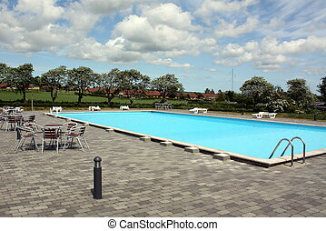 Swimming pool in a resort of the Danish island Bornholm...