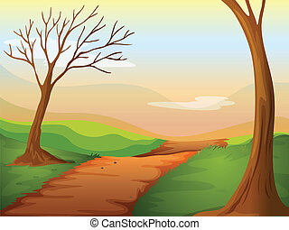 A lonely road - Illustration of a lonely road in a beautiful...
