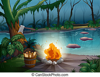 A river and a camp fire in a jungle - illustration of a...