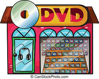 A dvd store - Illustration of a dvd store on a white...