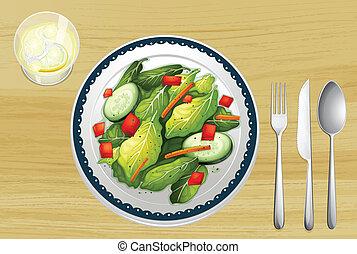 A garnished salad - Illustration of a garnished salad on a...